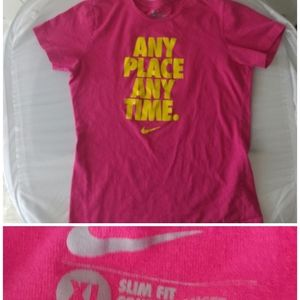 Nike Pink Short Sleeve Tee Any Place Any Time XL